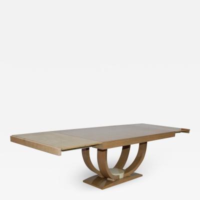 Karl Springer LTD Karl Springer Style Art Deco Dining Table With Two Leaves