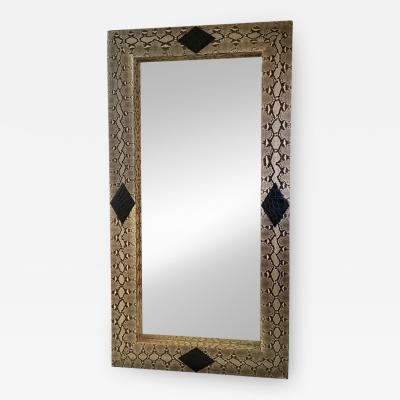 Karl Springer LTD MONUMENTAL MODERN PYTHON AND BLACK ALLIGATOR DIAMOND DESIGN MIRROR