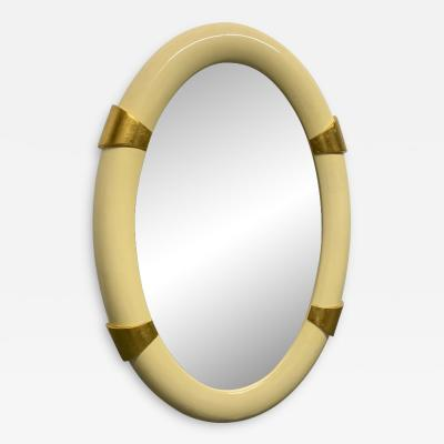 Karl Springer Lacquered Oval Mirror with Gold Leaf Accents