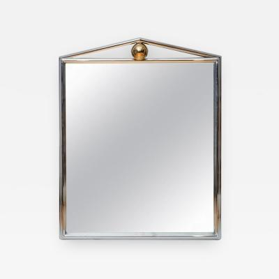 Karl Springer Large Architectural Chrome and Brass Mirror