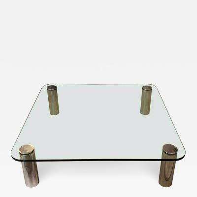 Karl Springer Large Mid Century Modern square coffee table Karl Springer Pace Coll style 1970