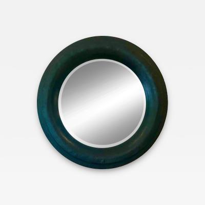 Karl Springer Large Round Grasscloth Mirror