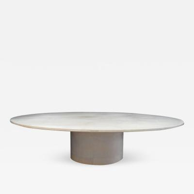 Karl Springer Large Round Parchment Dining Table in the Style of Karl Springer