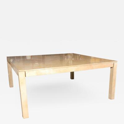 Karl Springer Large Square Parchment Table by Karl Springer