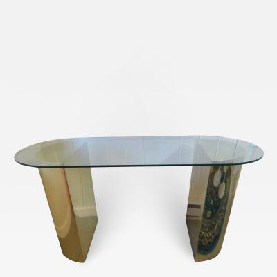 Karl Springer Lovely Brass Half Cylinder Console Table Mid Century modern Karl Springer style