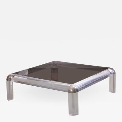 Karl Springer Lucite Chrome and Smoked Glass Square Coffee Table Karl Springer Style