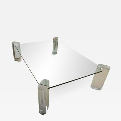 Karl Springer Lucite and Glass Cocktail Table in the Manner of Karl Springer