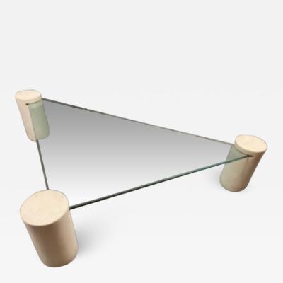 Karl Springer MODERN CYLINDER AND GLASS TRIANGULAR COFFEE TABLE IN THE MANNER OF KARL SPRINGER