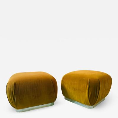 Karl Springer MODERN PAIR OF SOUFFLE STOOLS IN THE MANNER OF KARL SPRINGER