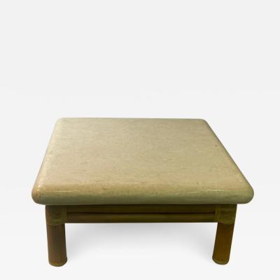 Karl Springer MODERN TRAVERTINE RESIN AND BAMBOO COFFEE TABLE