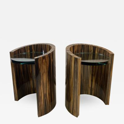 Karl Springer MODERNIST PAIR OF MACASSAR SIDE TABLES BY KARL SPRINGER