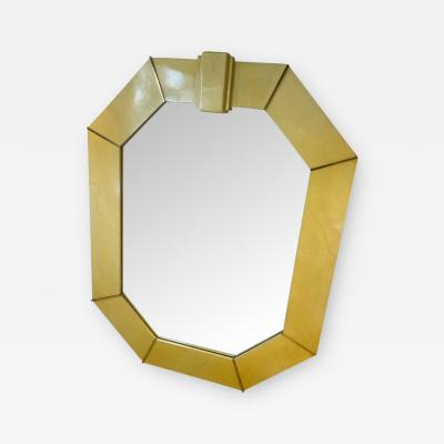 Karl Springer MONUMENTAL LACQUERED GOATSKIN AND BRASS MIRROR BY KARL SPRINGER