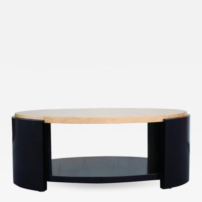 Karl Springer Maple and Black Lacquer Coffee Table in the Style of Karl Springer