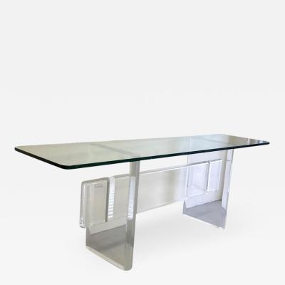 Karl Springer Massive Lucite Console Table Karl Springer Style 1970s