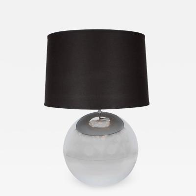 Karl Springer Mid Century Ball Table Lamp in Chrome in the Style of Karl Springer