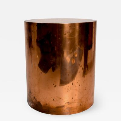 Karl Springer Mid Century Modern Cylinder Drum Side Table in Copper After Karl Springer