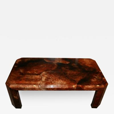 Karl Springer Mid Century Modern Karl Springer Attributed Lacquer Goat Skin Coffee Table
