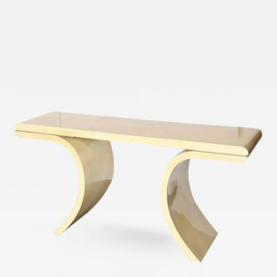 Karl Springer Mid Century Modern Lacquered Goat Skin Console Table