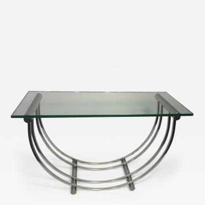 Art Deco Moderne Chrome Et Glass End Coffee Console Tables