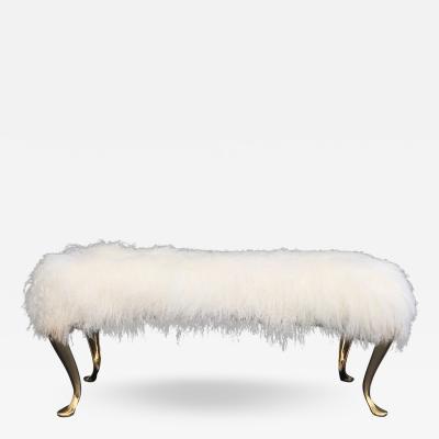 Karl Springer Mongolian Fur Vanity Bench with Cabriolet Brass Legs