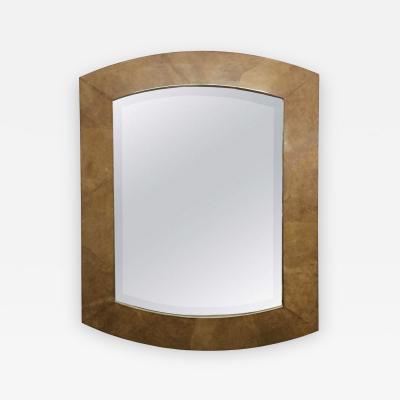 Karl Springer Monumental Goatskin Beveled Mirror in the Style of Karl Springer