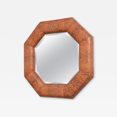 Karl Springer Octagonal Mirror Dyed Python Snakeskin Polished Steel Style of Karl Springer
