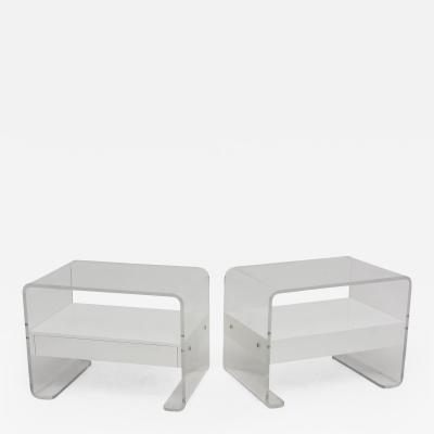 Karl Springer Pair American Modern Lucite and Enamel Side Tables