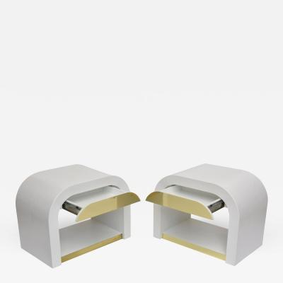 Karl Springer Pair American White Enameled and Brass Waterfall Bedside Tables