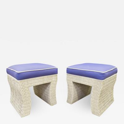 Karl Springer Pair Of Chic Benches In Wicker In The Style Of Karl Springer 1970s