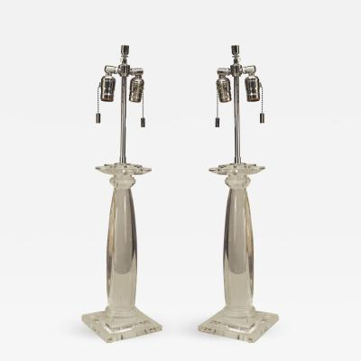Karl Springer Pair of American 1960s Lucite Table Lamps