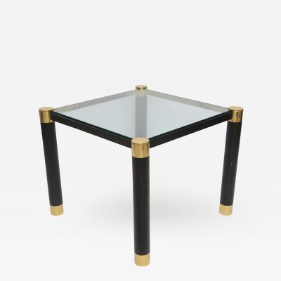 Karl Springer Pair of American Modern Brass and Ebonized Glass Top Tables Karl Springer