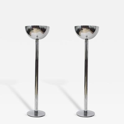 Karl Springer Pair of American Modern Gunmetal Floor Lamps attributed to Karl Springer