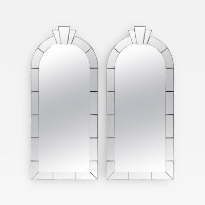 Karl Springer Pair of Dome Top Art Deco Style Mirrors by Karl Springer