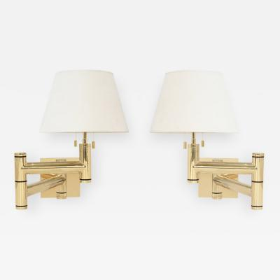Karl Springer Pair of Exceptional Swing Arm Sconces in Brass by Karl Springer