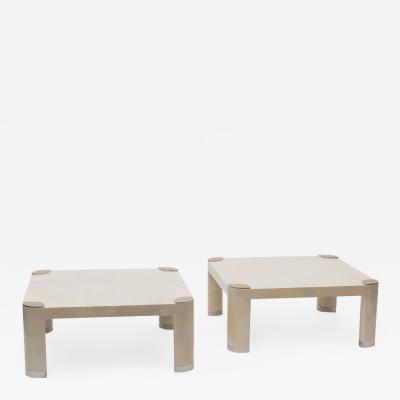 Karl Springer Pair of Goatskin Occasional Tables