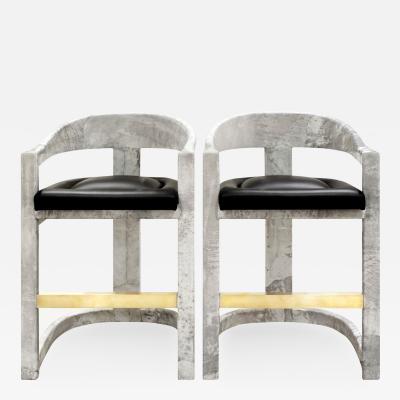 Karl Springer Pair of Karl Springer Goatskin Onassis Bar Stools 1980s