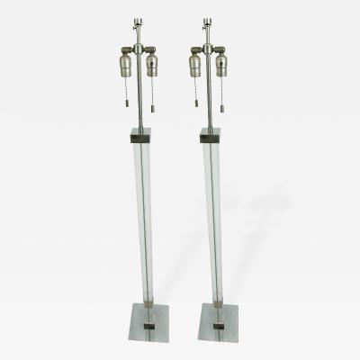 Karl Springer Pair of Karl Springer Lucite Chrome Floor Lamps