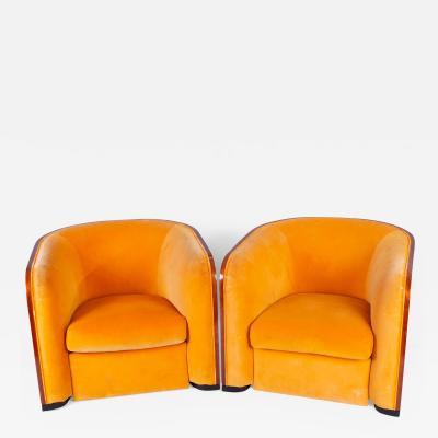 Karl Springer Pair of Karl Springer Mahogany Club Chairs