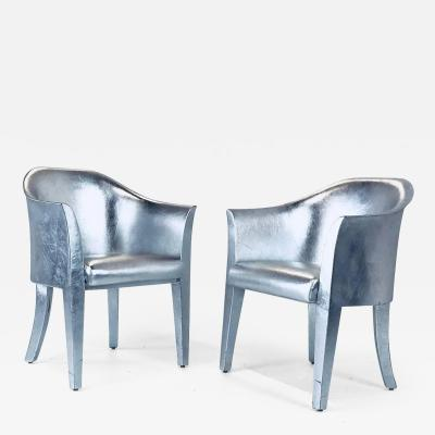 Karl Springer Pair of Metallic Silver Leather Armchairs Signed Karl Springer