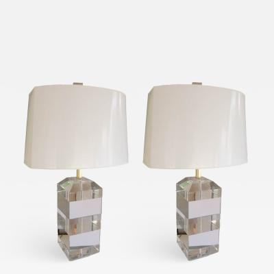 Karl Springer Pair of Mid Century Lucite Table Lamps Attributed to Karl Springer