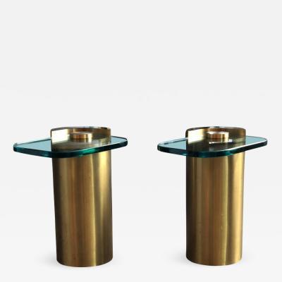 Karl Springer Pair of Mid Century Modern Karl Springer Cylinder Glass Sculpture Side Tables