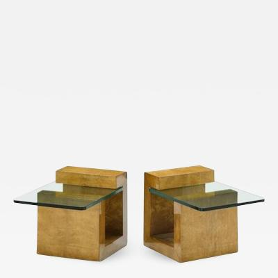 Karl Springer Pair of Modernist Lacquered Parchment Side Tables by Karl Springer