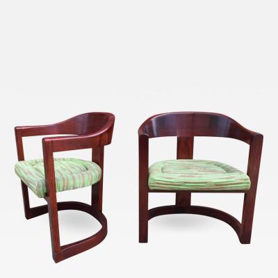 Karl Springer Pair of Oak Onassis Chairs by Karl Springer