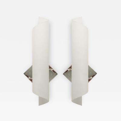 Karl Springer Pair of Sand Blasted Scroll Sconces by Karl Springer