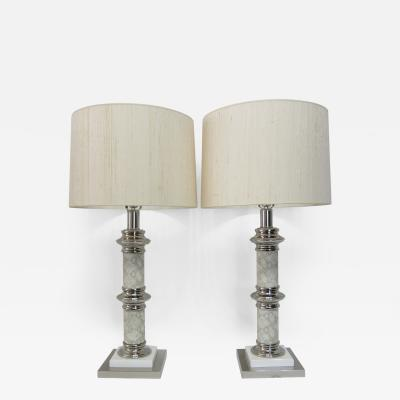 Karl Springer Pair of Skin Chrome and Lacquer Lamps