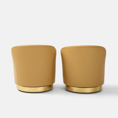 Karl Springer Pair of Swivel Chairs in Camel Leather and Brass