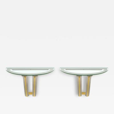 Karl Springer Pair of Wall Mounted Tulip Console Tables by Karl Springer