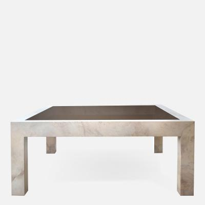 Karl Springer Parchment Covered Low Table with Inset Bronze Glass
