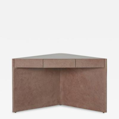 Karl Springer Pastel Pink Triangular Lacquered Corner Table circa 1980s