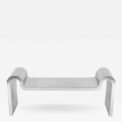 Karl Springer Rare Karl Springer Sculpture Bench in Stainless Steel